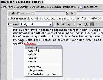 Rechtschreib-Button der Google-Toolbar