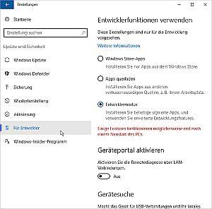 Sccreenshot Entwickler-Modus